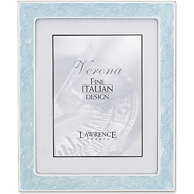 Lawrence Frames Silver Metal with Blue Swirl Enamel Bead Border