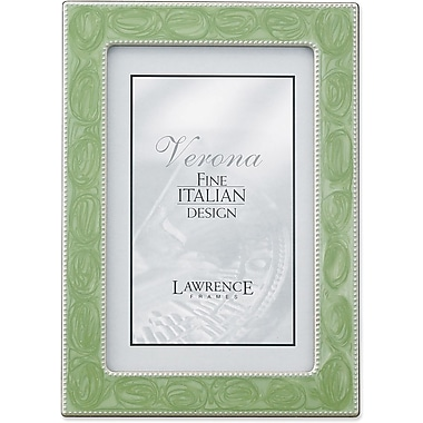 Lawrence Frames Silver Metal with Sage Green Swirl Enamel Bead Border