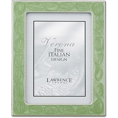 Silver Metal 8x10 with Swirled Sage Enamel Picture Frame - Bead Border
