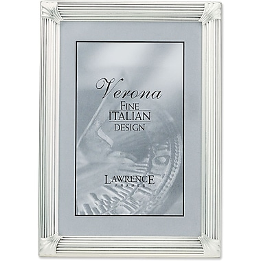 Brushed Silver Plated 4x6 Metal Picture Frame with Corner Ornaments