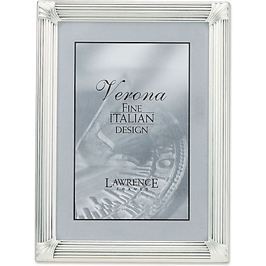 Brushed Silver Plated 5x7 Metal Picture Frame with Corner Ornaments