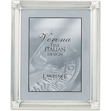 Brushed Silver Plated 8x10 Metal Picture Frame with Corner Ornaments