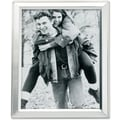 Brushed Silver Plated 4x5 Metal Picture Frame Shiny Inner Edge