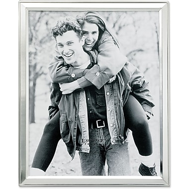 Brushed Silver Plated 8x10 Metal Picture Frame Shiny Inner Edge
