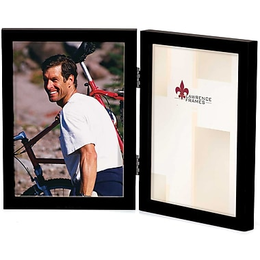 5x7 Hinged Double Black Wood Picture Frame - Gallery Collection