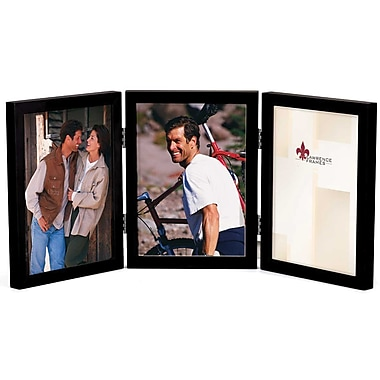 5x7 Hinged Triple Black Wood Picture Frame - Gallery Collection
