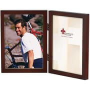 5x7 Hinged Double Walnut Wood Picture Frame - Gallery Collection