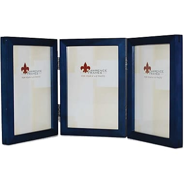 4x6 Hinged Triple Blue Wood Picture Frame - Gallery Collection