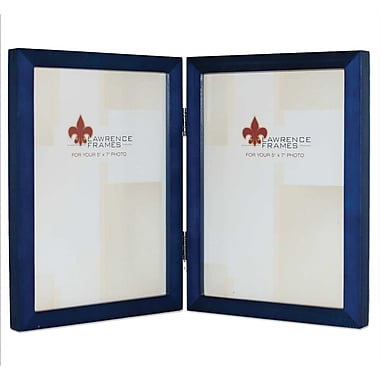 5x7 Hinged Double Blue Wood Picture Frame - Gallery Collection