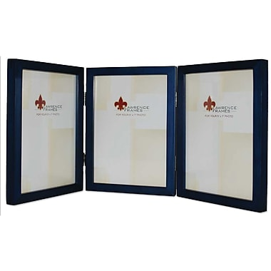 5x7 Hinged Triple Blue Wood Picture Frame - Gallery Collection