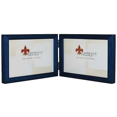 4x6 Hinged Double (Horizontal) Blue Wood Picture Frame - Gallery Collection