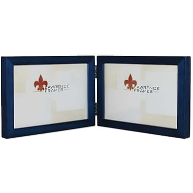 5x7 Hinged Double (Horizontal) Blue Wood Picture Frame - Gallery Collection