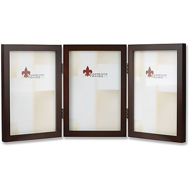 755946T Espresso Wood 4x6 Hinged Triple Picture Frame - Gallery Collection