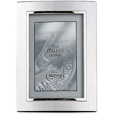 Domed Brushed Silver Metal 5x7 with Shiny Silver Inner Edge Picture Frame