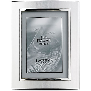 Domed Brushed Silver Metal 8x10 with Shiny Silver Inner Edge Picture Frame