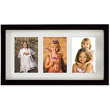 Black Wood Triple 4x6 Matted Picture Frame