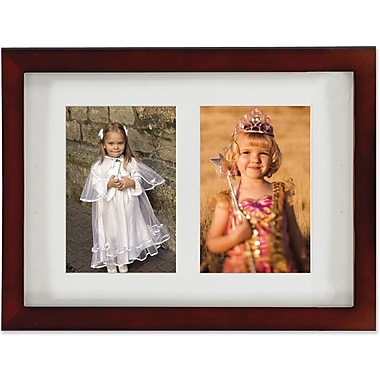 Walnut Wood Double 5x7 Matted Picture Frame