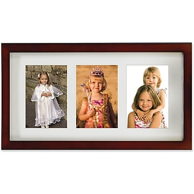 Walnut Wood Triple 4x6 Matted Picture Frame