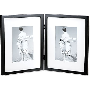 Black Wood 8x10 Hinged Double Picture Frame Matted to 5x7