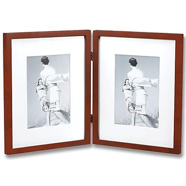 Walnut Wood 8x10 Hinged Double Picture Frame Matted to 5x7