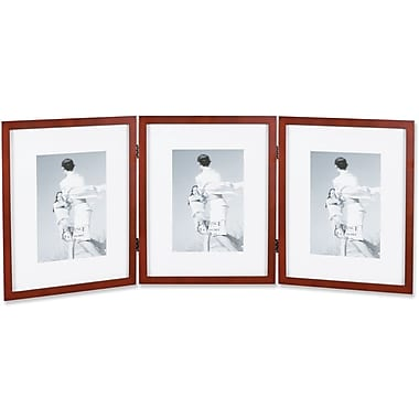 Walnut Wood 8x10 Hinged Triple Picture Frame - Comes with Bevel Cut Mats for 5x7 Photos