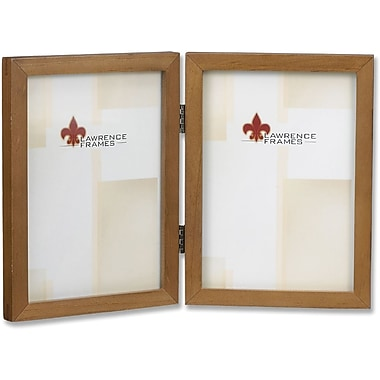 766057D Nutmeg Wood 5x7 Hinged Double Picture Frame - Gallery Collection