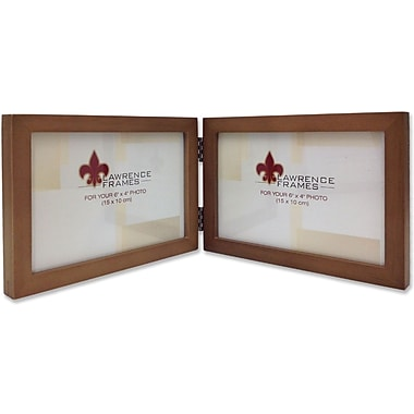 766064D Nutmeg Wood 6x4 Hinged Double Picture Frame - Gallery Collection