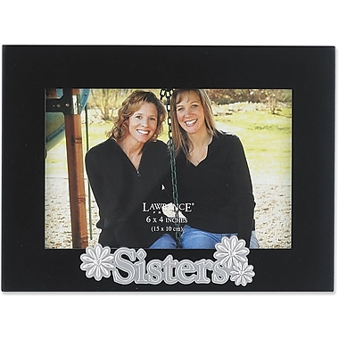 4x6 Black Wood Sisters Picture Frame - Silver Sentiments Collection