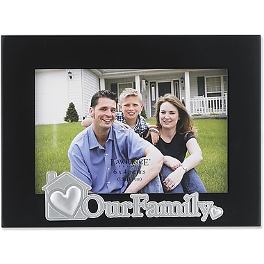 4x6 Black Wood Family Picture Frame - Silver Sentiments Collection