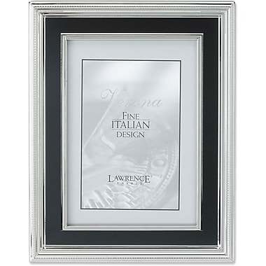 4x6 Silver Plated Metal Picture Frame - Satin Black Inner Panel