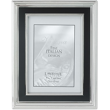 5x7 Silver Plated Metal Picture Frame - Satin Black Inner Panel