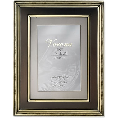 5x7 Brushed Brass Metal Picture Frame - Oil Rubbed Bronze Inner Panel