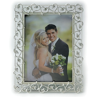 5x7 Silver Plated Metal Picture Frame - Open Heart Design with Crystals and Ivory Enamel