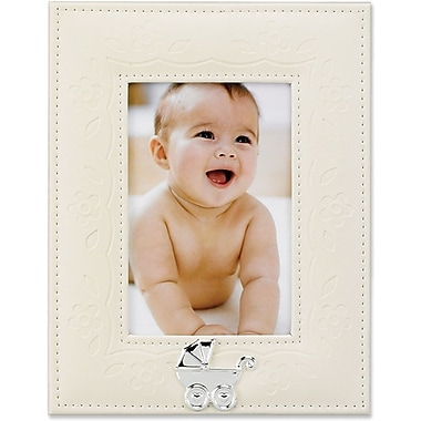 Ivory Faux Leather 4x6 Picture Frame