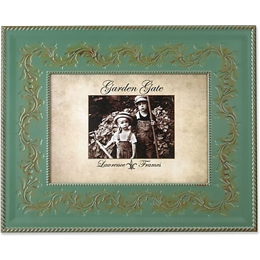 Garden Gate Rustica Vintage Green Floral Vine With Rope Border 4x6 Metal Picture Frame