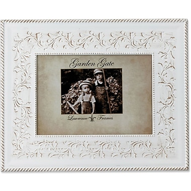 Garden Gate Rustica White Floral Vine With Rope Border 4x6 Metal Picture Frame