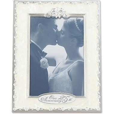 Lawrence Frames 4in. x 6in. Metal Silver 25th Anniversary Picture Frame (898046)