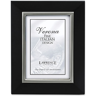 4x6 Black Wood Picture Frame with Brushed Pewter Metal Inner Bezel