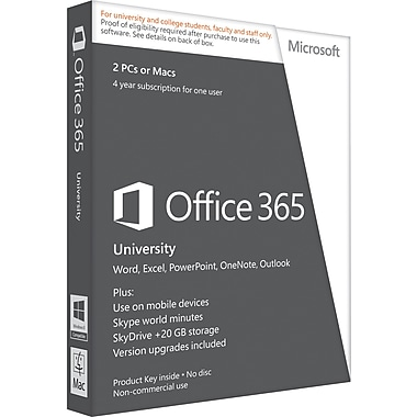 Microsoft Office 365 University for Windows/Mac (2-Device) [Product Key Card]
