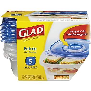 GladWare Entree Containers with Lids, 5/pack