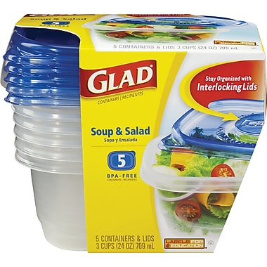Glad Plastic Soup and Salad Containers with Lids, Clear/Blue, 5/Pack, 24 oz.