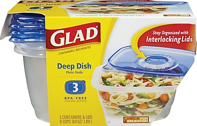 GladWare Deep Dish Containers with Lids 3 Pack