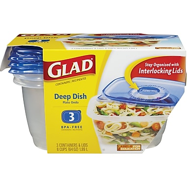 GladWare Deep Dish Containers with Lids, 3/Pack