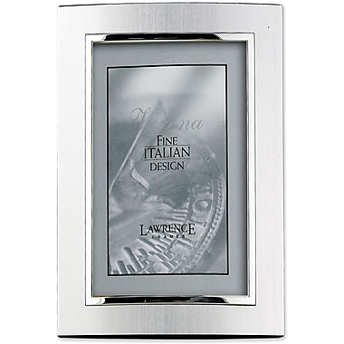 Domed Brushed Silver Metal 4x6 with Shiny Silver Inner Edge Picture Frame
