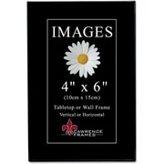 "Lawrence Frames Image Collection 4"" x 6"" Plastic Black Picture Frame, 6/Pack (350046)"
