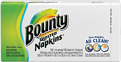 Bounty Quilted Napkins 1 Ply 100 Napkins Pack