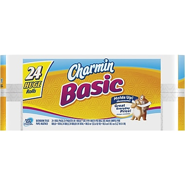 Charmin® Basic Bath Tissue Rolls, 1-Ply, 24 Big Rolls/Case
