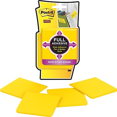 Post-it® Super Sticky Full Adhesive Notes, Canary Yellow, 3'' x 3'', 4/Pack