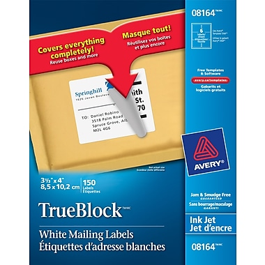 Avery 8164 trueblock white inkjet shipping labels 4 x 3 for Avery label 8164 template