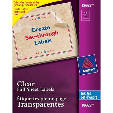 avery 18665 clear inkjet labels 8 1 2 x 11 10 pack staples